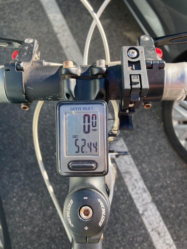 Odometer showing mileage of fifty-two point four four.