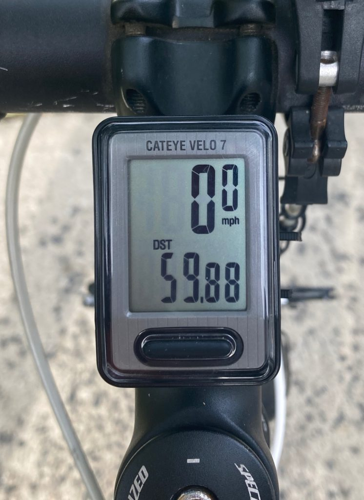 Odometer reading mileage of fifty-nine point eight eight.