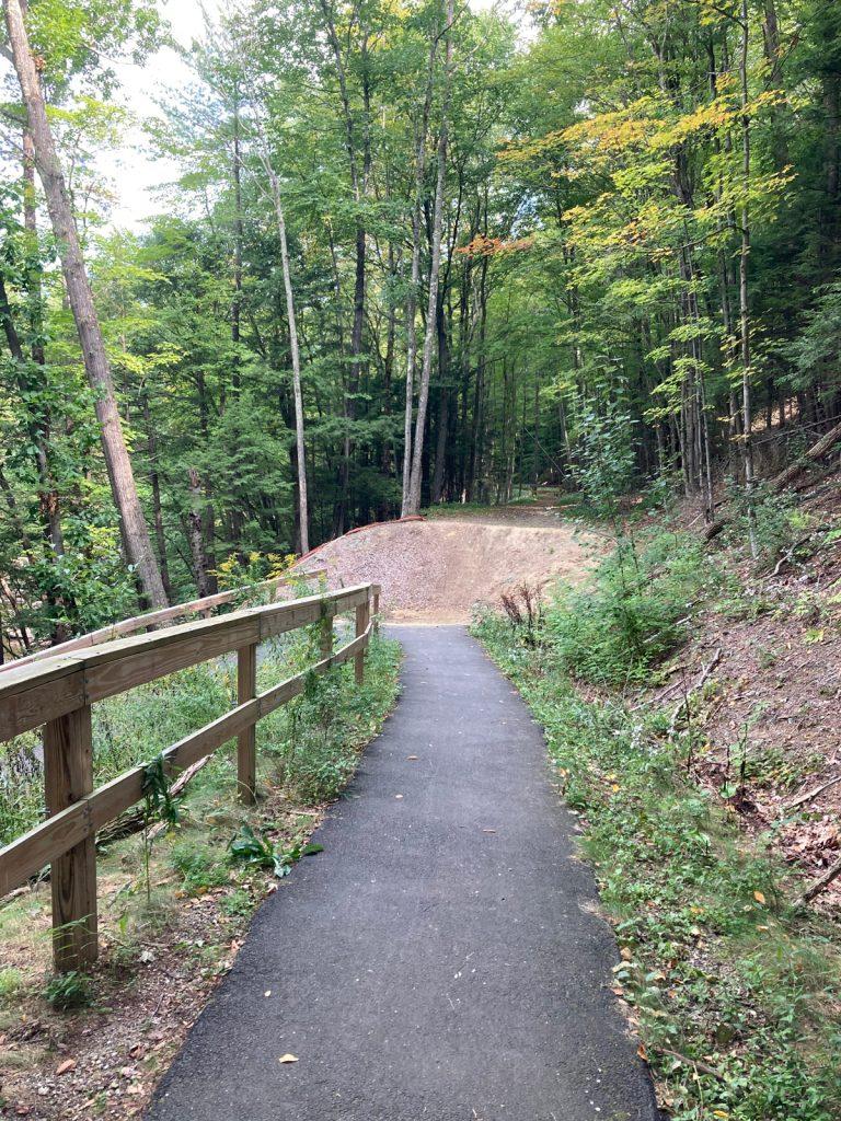 Narrow paved trail stretching a short distance away, with a wooden railing on the left side.  Ahead is a dirt berm, and trees beyond that.