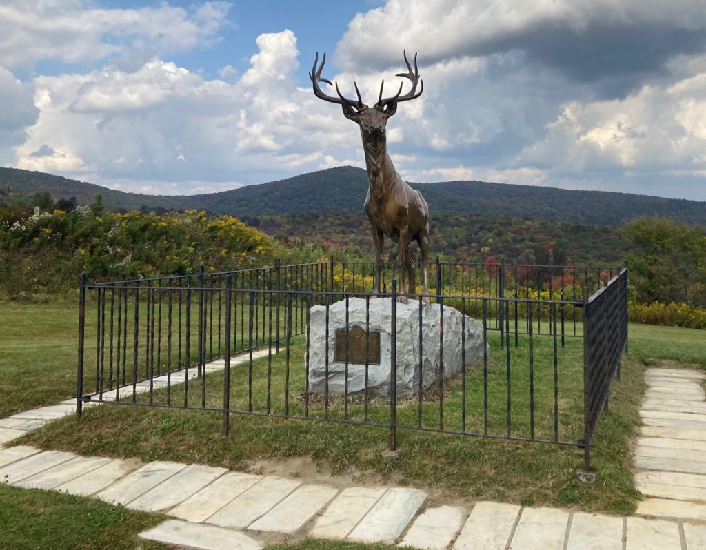 Bronze statue of a male elk, standing on a rock with a small plaque on the front of the rock.  The statue is surrounded by a low metal fence, with grass and paving stones around.   Behind it is a view of hills in the distance.