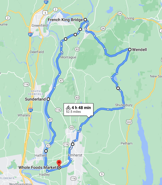 Map of route going from Hadley up into Franklin County towns and back