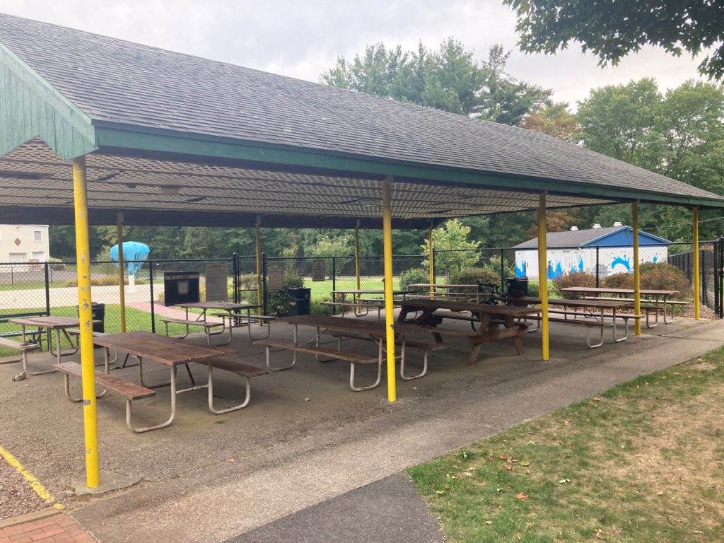 Picnic shelter with yellow supporting columns and several picnic tables.