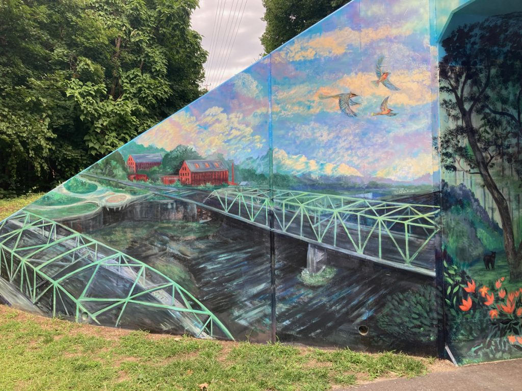 Mural depicting steel-fram bridges over the Westfield River