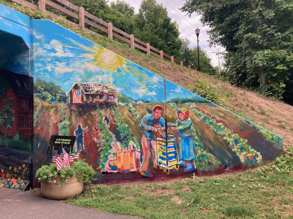 Mural depicting harvesting of crops from farm field