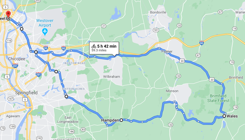 Map showing route from Holyoke through Palmer and down to Wales, Mass, then west through Monson and Hampden, and back north through Springfield.