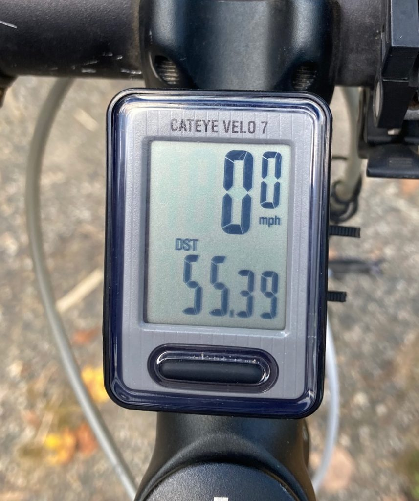 Odometer showing mileage of fifty-five point three nine.